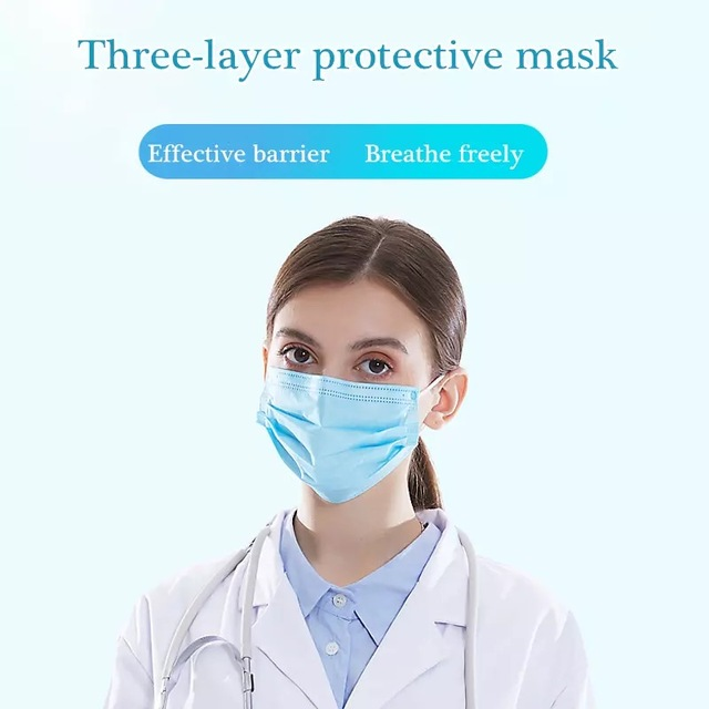 Hot Sale DISPOSABLE Mask Anti-dust Mask Mouth Korean Blue Face Mask 3Layer Antifog  Dust Mask  Facial Safety Mask