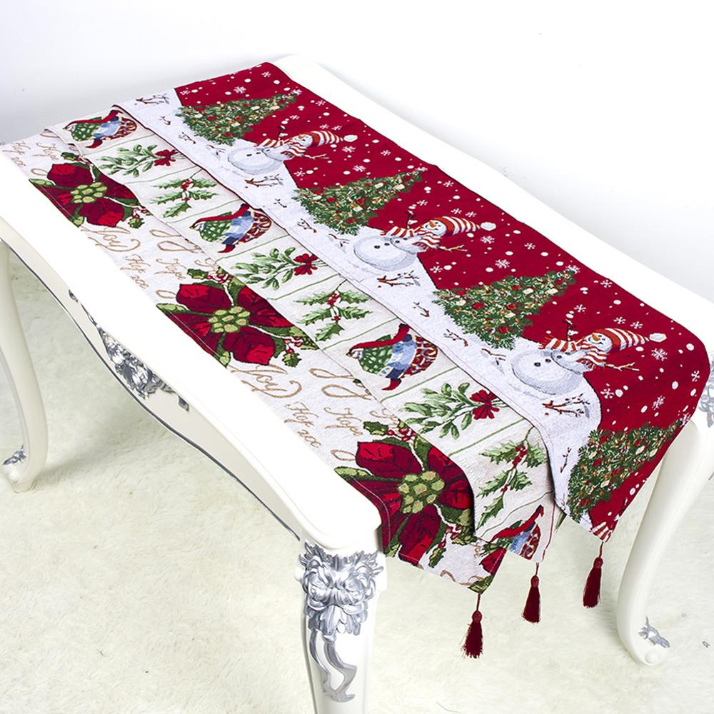 34x180cm Christmas Decoration Cotton Printed Table Flag Table Runner Tassel Tablecloth Placemat Hotel Home Festival Decoration