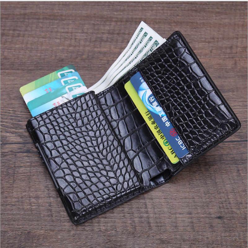 BISI GORO Mode Unisex Metalen Credit Card Houder Met RFID Anti-diefstal Portemonnee Geld Portemonnee Smart Wallet 7 Kleuren voor Business