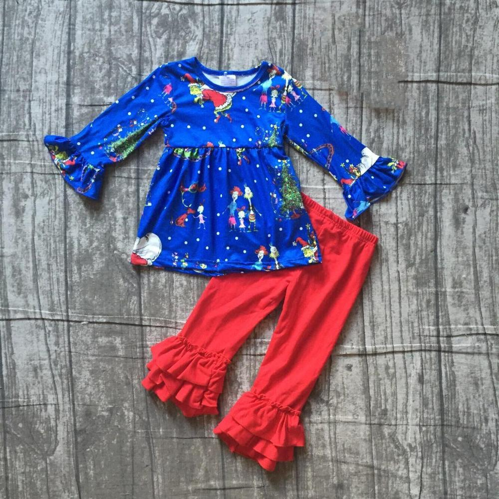 Special Offer Girlymax Christmas Fall/Winter Baby Girls Clothes Children Cotton Boutique Outfits Ruffles Pants Set Skirt 3