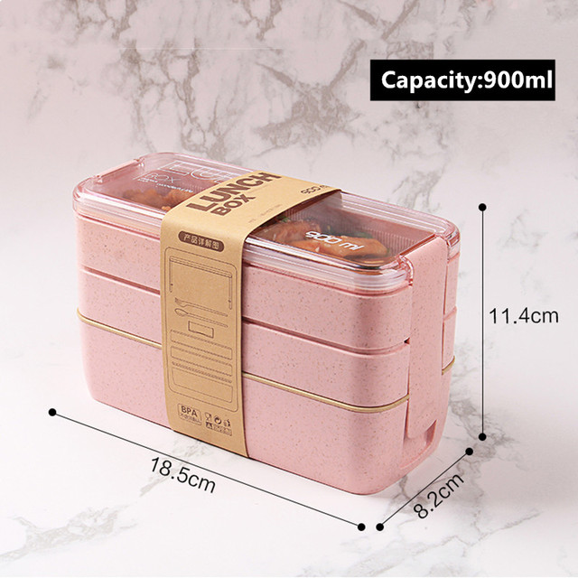 900ml Healthy Material Lunch Box 3 Layer Wheat Straw Bento Boxes Microwave Dinnerware Food Storage Container Lunchbox 5