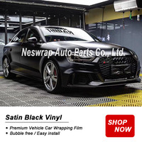 premium Satin Black Vinyl wrapping film car skin satin black Car Wrap Film with Air Bubble Free Full Vehicle Car styling Foil
