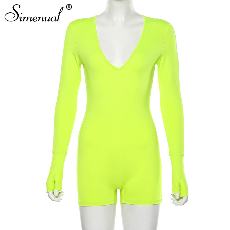 Simenual Fitness Sporty Active Wear Rompers Womens Jumpsuit Long Sleeve Fashion V Neck Letter Print Biker Playsuit Autumn Casual