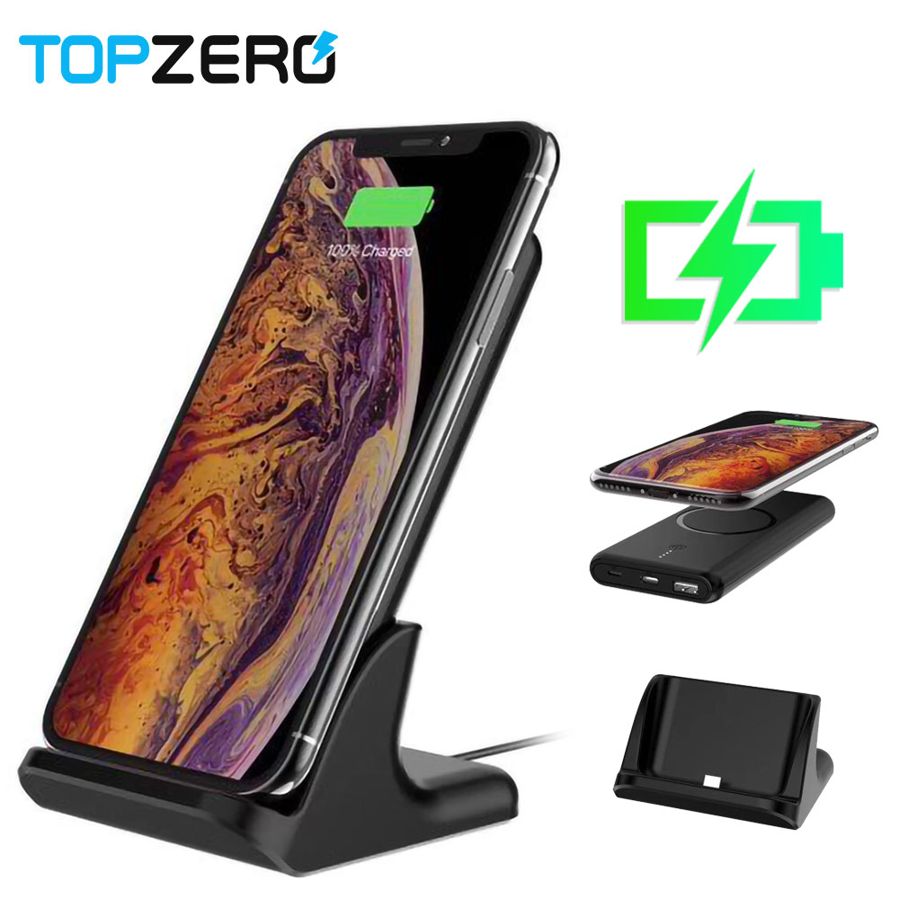 Power Bank 10000mAh Qi Wireless Qucik Charging Powerbank For IPhone 8 7 Xs 6 External Battery With Charger Base Stand TypeC USB