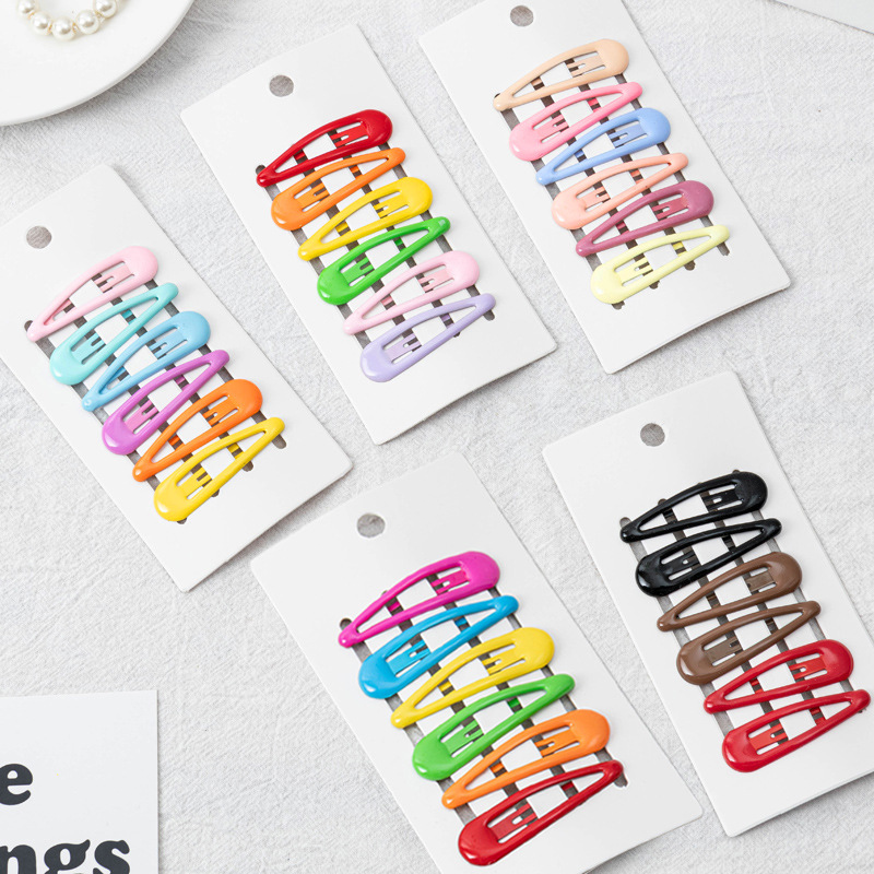 6Pcs/Lot Korean Fashion Hair Accessories Metal Snap Hair Clips Hairpin Solid Candy Color Waterdrop Hairgrip For Girls Barrettes
