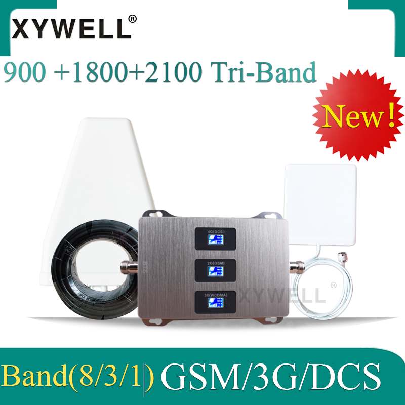 New!! 900 /1800/2100 Tri-Band 2G 3G 4G GSM Cell Phone Booster GSM DCS WCDMA Mobile Signal Amplifier LTE Cellular Repeater