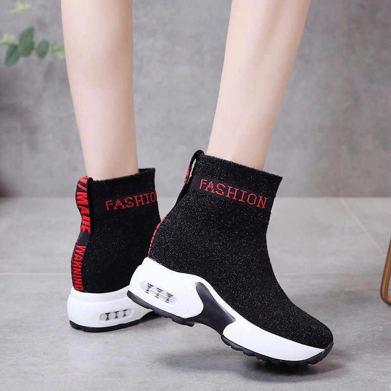 COOTELILI Frauen Stiefel Plattform Mode Stiefel Heels Frauen Casual Schuhe Stiefeletten Frau Turnschuhe 35-40