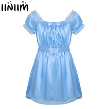iiniim Mens Sexy Costumes Lingerie Babydoll Shiny Soft Satin Crossdress Male with Sash Sissy Underwear Lingerie Sexy Hot Erotic