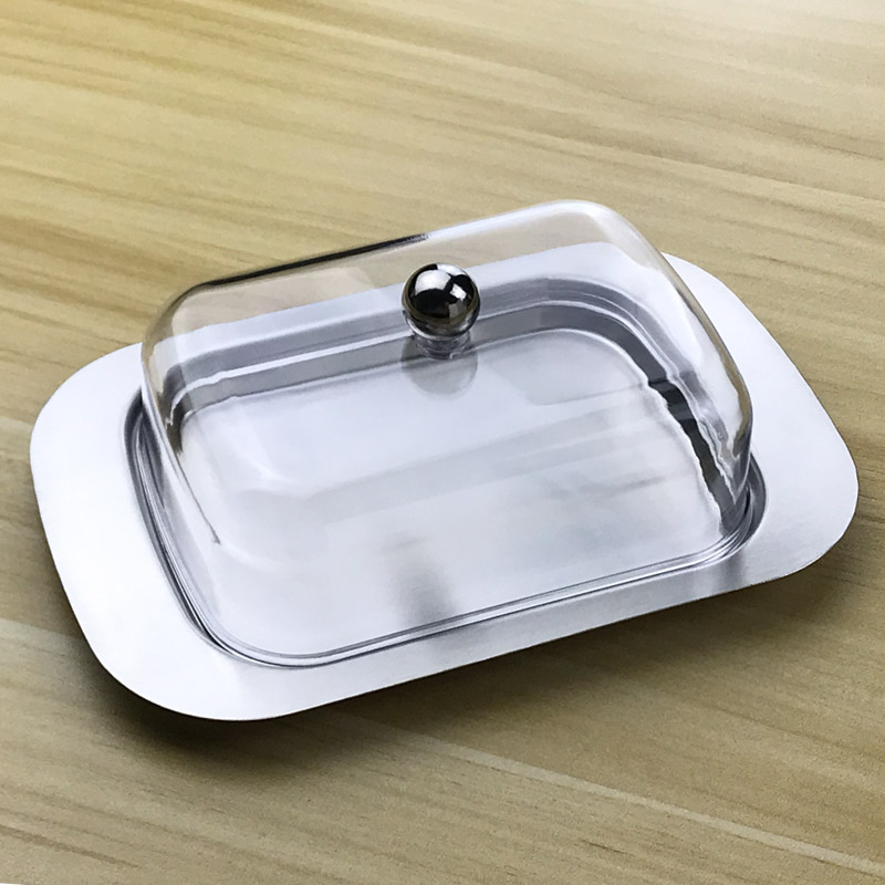 Butter Dish Box Container Cheese Bread Storage Butter Tray With See-through Lid Stainless Steel Butter Cheese Dish Box Containe