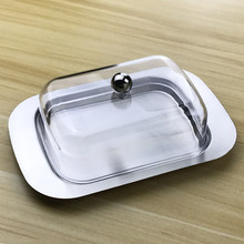 Butter Dish Box Container Cheese Bread Storage Tray With See-through Lid Stainless Steel Butter Cheese Dish Box Container