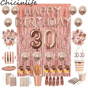 Image 1 - Chicinlife Rosegold украшение для 30 го дня рождения с номером воздушного шара, соломенные бумажные тарелки, коробка для попкорна для взрослых 30 лет, товары для дня рождения