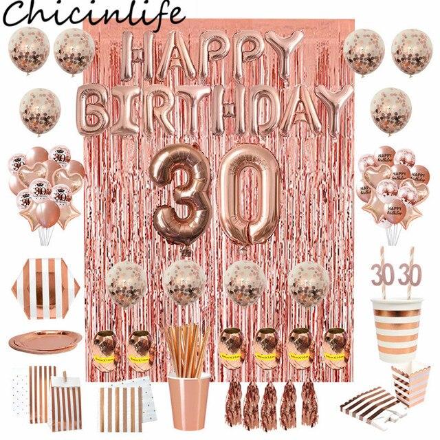 Chicinlife Rosegold украшение для 30 го дня рождения с номером воздушного шара, соломенные бумажные тарелки, коробка для попкорна для взрослых 30 лет, товары для дня рождения