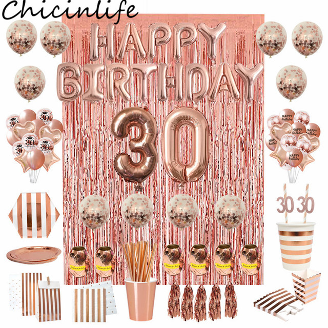 Chicinlife Rosegold 30th Birthday Party Decor Number Balloon Straw Paper Plates Popcorn Box Adult 30 Years Old Birthday Supplie