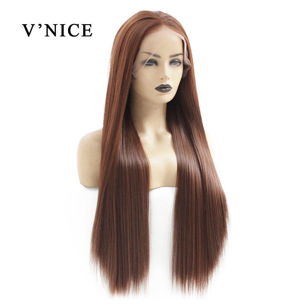 V'NICE Brown Lace Front Wig For Black Women Orange Grey Heat Resistant Natural Glueless Synthetic Wigs Long Blue Fiber Hair