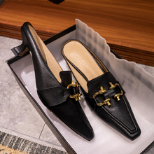 Luxury Brand Design Buckle Women Pumps Leather Pointed Toe Slip on Office Lady Shoes Med Heel Spring Autumn Party Wedding Shoes 2020 new fashion cow leather shallow square heel big size women pumps slip on elegant wedding office lady party metal sexy shoes