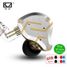 Auriculares de Metal KZ ZS10 Pro 4BA + 1DD Unidades híbridas auriculares de graves HIFI en los auriculares del Monitor del oído auriculares de cancelación de ruido auriculares KZ ZSN AS16