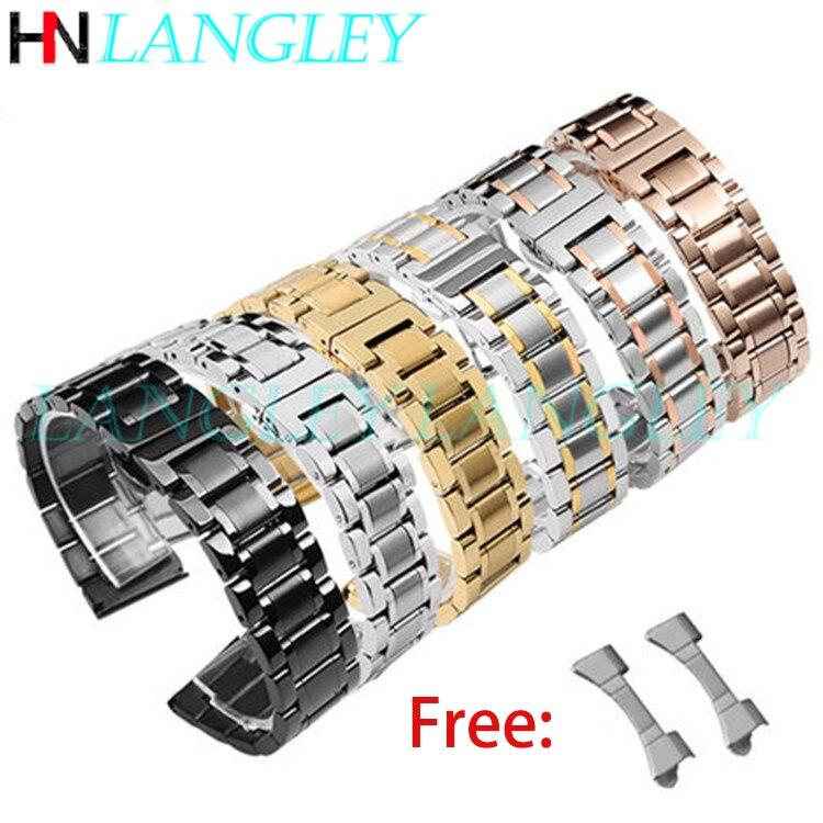 Pulseira de relógio em aço inoxidável, 14/15/16/17/18/19/20/21/22/23/24/26mm largura relógios pulseira substituição curvo extremidade peças