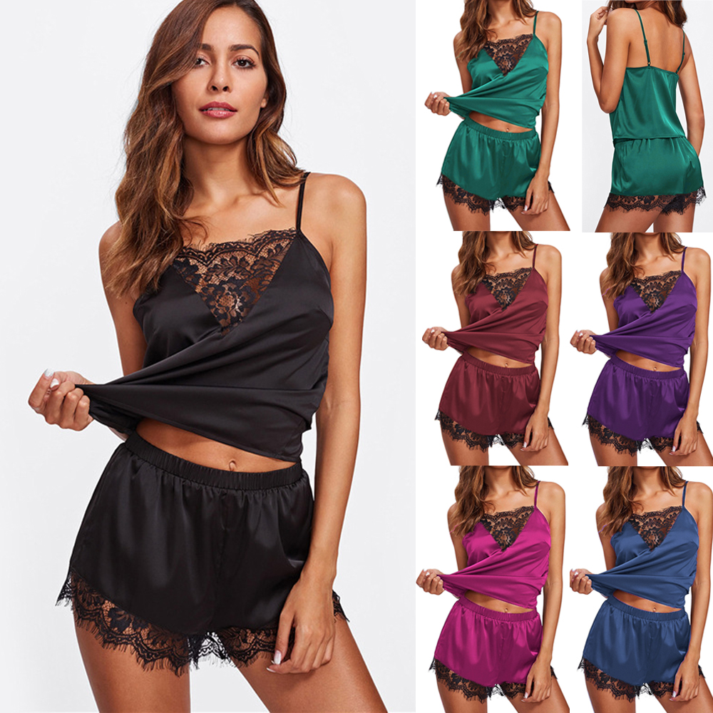 2pcs Women Sexy Satin Lace Patchwork Ladies Top + High Waist Shorts Pjs Sleepwear Babydoll Lingerie Nightdress Pajamas Set