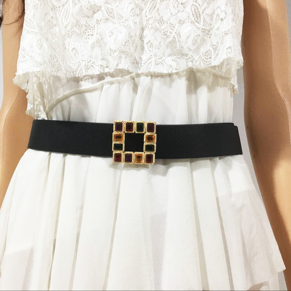 Leather Belt Women's Fashion Wild Solid Color Belt Alloy Square Buckle Inlaid Pearl Decoration Sweet Style Belt Women NN14