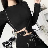 NCLAGEN-Camiseta corta de Fitness para mujer, camiseta gótica negra con agujeros y cadenas de anillo de Metal para mujer, con ombligo de imitación de dos piezas, Bodycon Punk