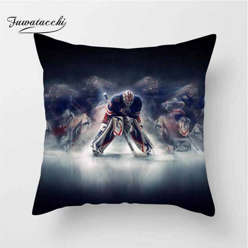 غطاء وسادة رياضي من Fuwatacchi لرياضة هوكي الجليد NHL غطاء وسادة رياضي 45x45 سنتيمتر للمنزل أريكة السرير وسادة زخرفية للسيارة 2019
