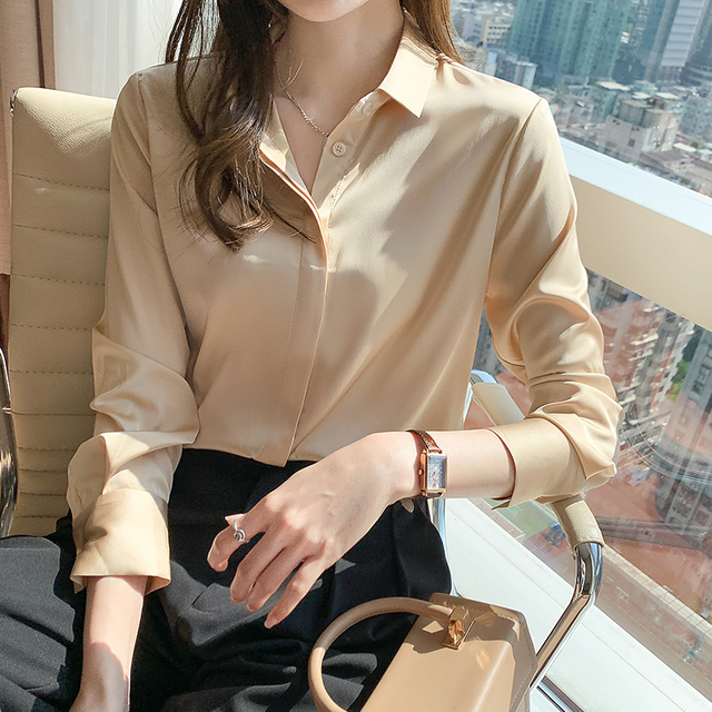 QoerliN Elegant Satin Blouse Autumn Spring Turn-Down Collar Single-Breasted Long Sleeve Female Chiffon Shirt Ladies Blouse Plus 10