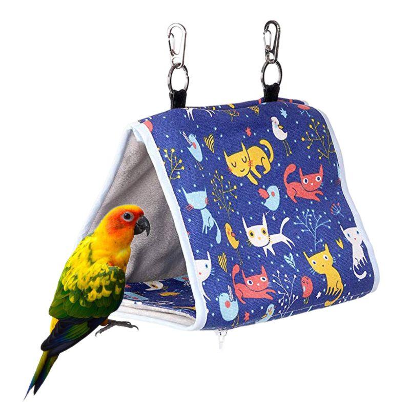 Bird Nest Snuggle Hut Parrot Habitat Cave Hanging Tent Hammock Bird Sleeping Bed Sleeping Bag Basket Mat Plaid House Pet Bird