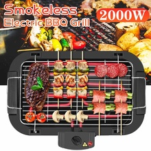 2000W Electric BBQ Grill Smokeless Barbecue Machine Household Indoor 5-Level Temperature Table Top Smokeless Tool for Camping