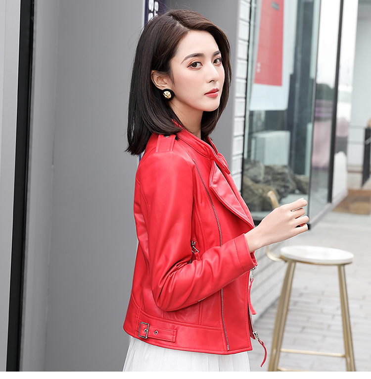 Free Shipping,2020 Spring Fashion Women Genuine Leather Jacket.New Slim Short Sheepskin Coat.motor Style.quality Sales