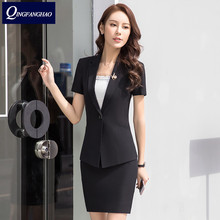 Summer fashion professional women s suit OL professional skirt hotel sales foreman overalls short sleeve multi size