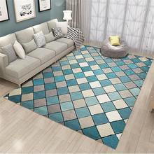 35 alfombra geométrica escocesa azul blanco gris nórdico moderno salón gran tamaño Color alfombra suelo alfombras dormitorio Vintage antideslizante