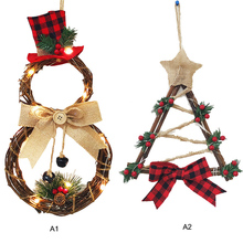New Christmas Door Wreath Hanging Pendants Party Led Wall Kids Present Decoration Home Decor Ornament