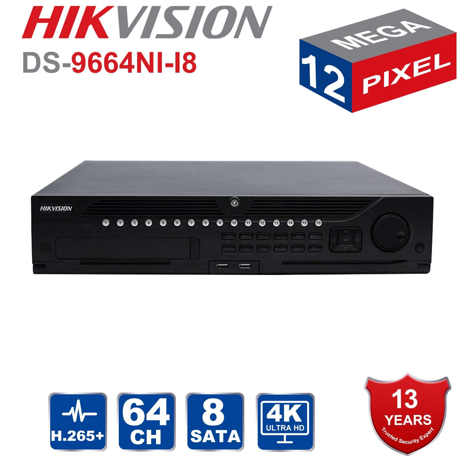 Em Estoque Hik 64 Profissional Sistema de CFTV Canal DS-9664NI-I8 Incorporado NVR até 12 4K Megapixels Resolução 8 SATA 2 HDMI