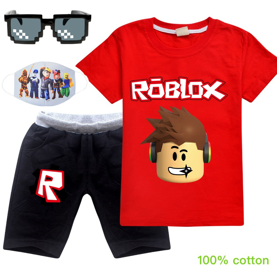 Roblox Summer Cotton T Shirt Short Pants 2020 Baby Boys Girls