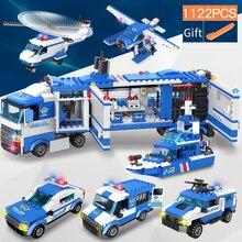 1122 pcs SWAT Da Polícia Da Cidade Blocos de Construção Série Veículo Helicóptero Da Polícia Da Cidade de Staction DIY Bricks Compatível com LegoED Bloco Role Play Figuras de Ação Brinquedos Para Crianças