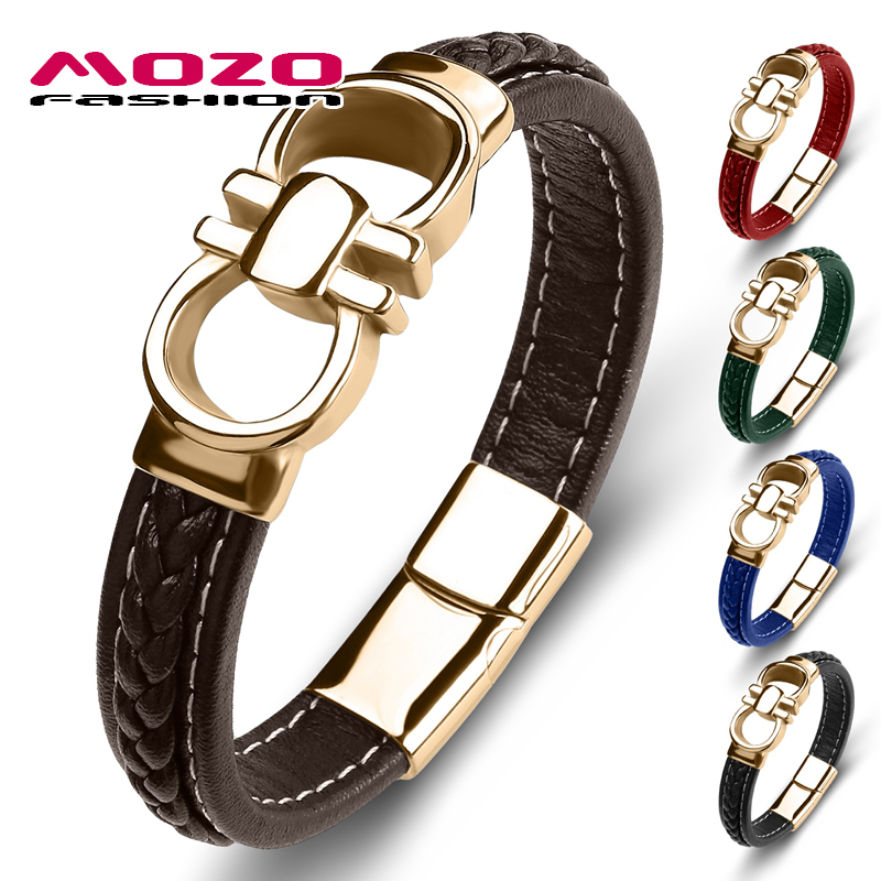 2020 New Punk Men Bracelet Genuine Leather Stainless Steel Charm Bracelet Women High Quality Fashion Jewelry Bangles Brown