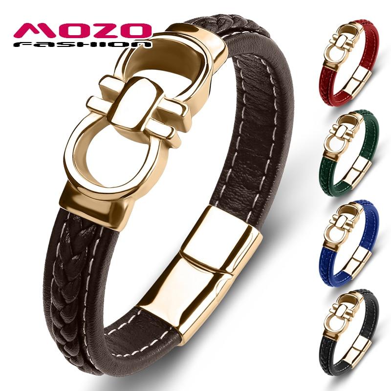 2020 New Punk Men Bracelet Genuine Leather Stainless Steel Charm Bracelet Women High Quality Fashion Jewelry Bangles Brown