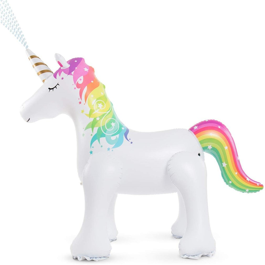 Inflatable Unicorn Water Spray Pool Toys Swimming Float Outdoor Fountain Beach Party Children's Summer Toys