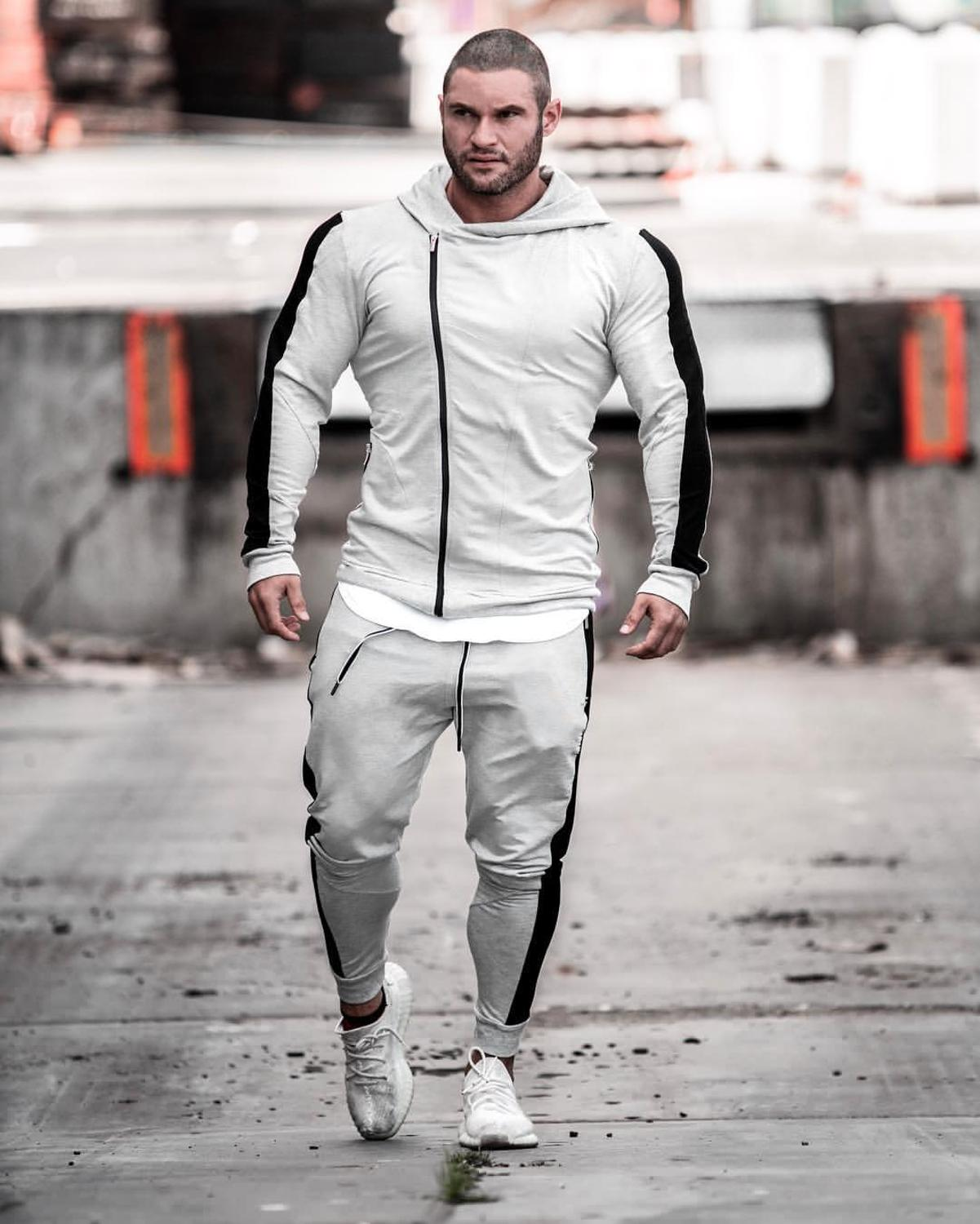 Winter Comfortable Cotton Sports Set Men's Fashion Clothing Fitness Casual Black Sweater Hoodie + Sports Pants Men's Tracksuit