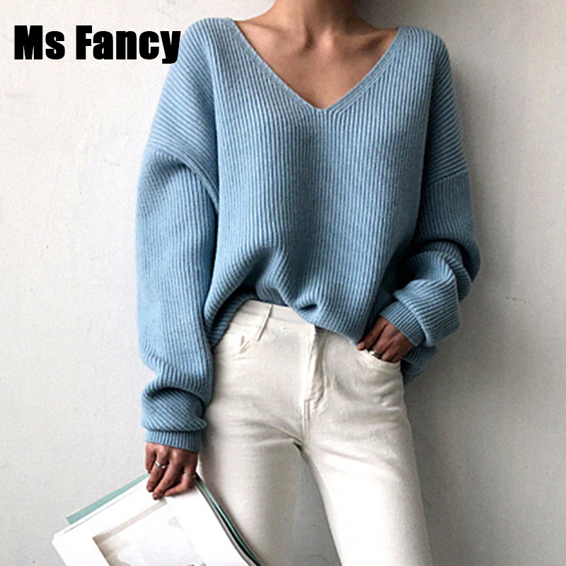 Pullover Sweater V-Neck Loose Lazy-Oaf Blue Black White Women Solid-Color Casual