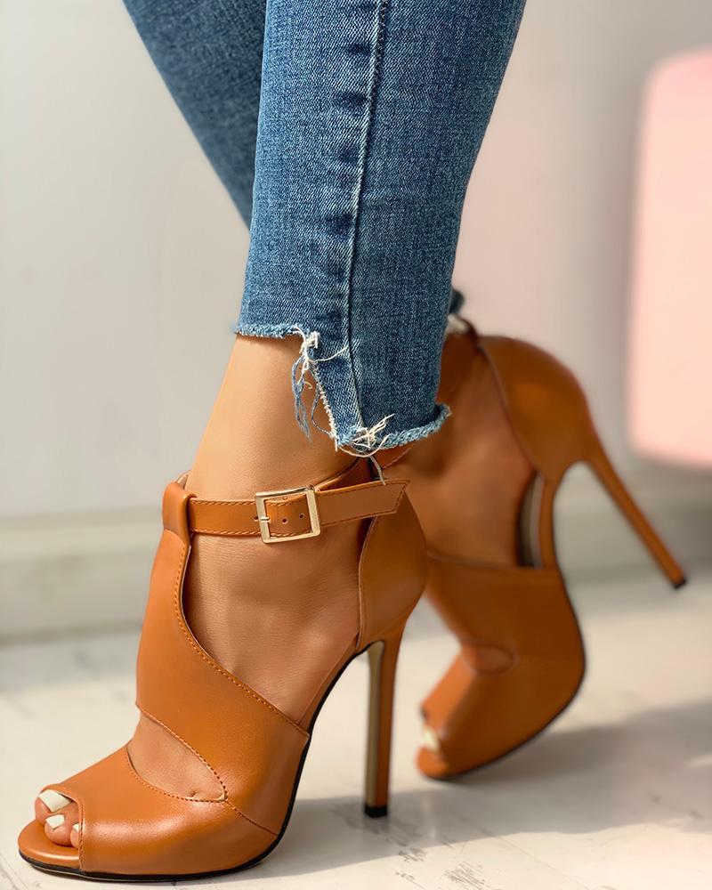 Sandalias de tacón fino de PU con hebilla en el tobillo Zapatos KATELVADI, sandalias de gladiador negras para mujer, sandalias de verano para mujer, Sandalias de tacón alto de 8CM con correa en el tobillo, sandalias para mujer, K-317