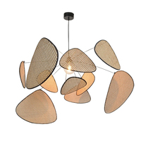Simplicity Chandelier Southeast Asia Living Room Lighting Dining Room Chandelier Creative Leaf Grid Rural Hand Made Rattan Lamp