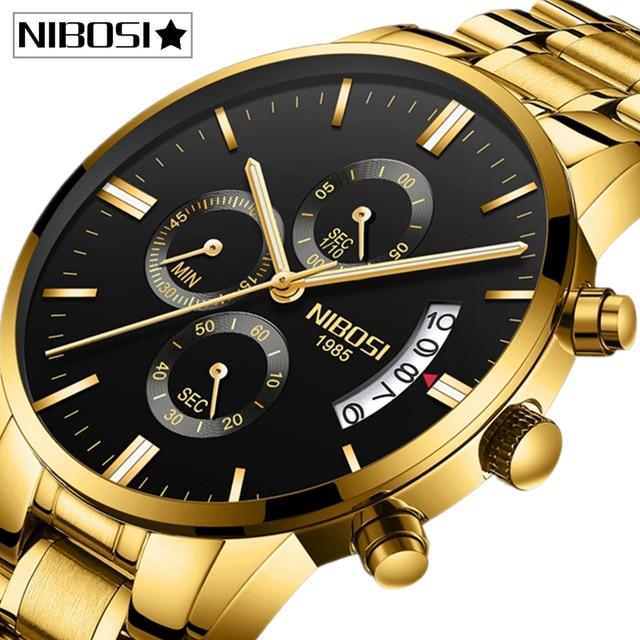 NIBOSI Relogio Masculino Mens Watches Top Brand Luxury Famous Mens Fashion Casual Dress Watch Military Quartz Male Wristwatches