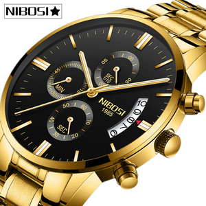 Image 1 - NIBOSI Relogio Masculino erkek saatler Top marka lüks ünlü erkek moda rahat elbise İzle askeri kuvars erkek kol saatleri