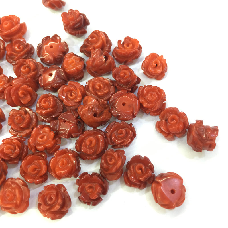Wholesale Lots Bulk Natural Coral Stone Beads Flower Shape Cabochon Half Hole Beads for Jewelry Making Earrings Supplies 8x10mm in Jewelry Findings Components from Jewelry Accessories