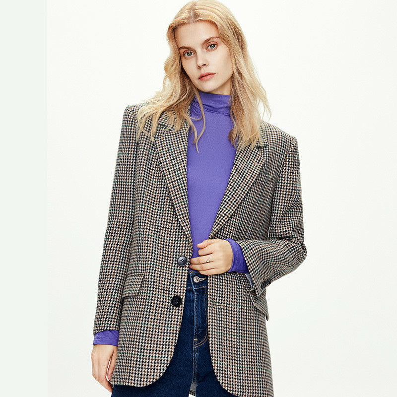 2020 New Style for Autumn and Winter European and American Style Plaid Blazer Women Thin British Vintage Noble Temperament