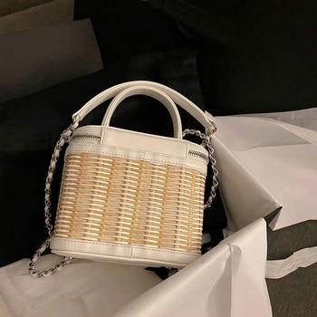 Fashion hand made Wicker Women bags New Rattan Woven women Shoulder Bags Designer Chains Crossbody Bags Beach Bali Straw handbag