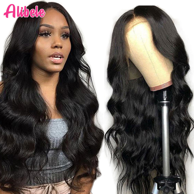 $ US $51.25 Alibele Brazilian Body Wave Wig 150% Pre Plucked Lace Front Wig 13x4 Lace Wig 10-30