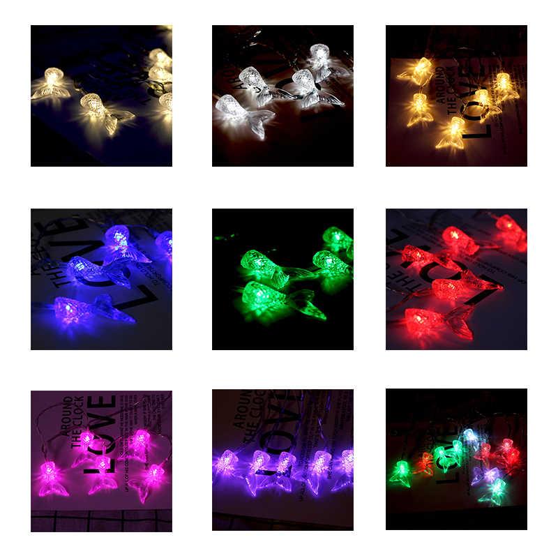 حار بيع 10 رؤساء LED سلسلة سلسلة خفيفة ذيل السمكة شكل LED أضواء للمنزل عيد الميلاد حديقة في الهواء الطلق LED الديكور مصباح الليل