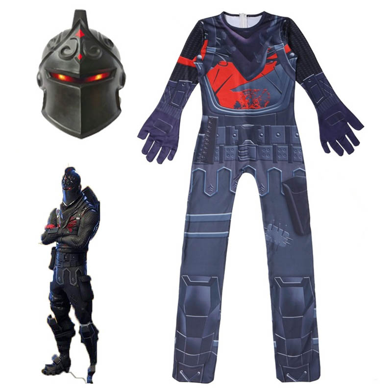 boys Zentai Bodysuit Black Knight Jumpsuits Game Battle Royale Cosplay Halloween Costume for Kids with mask funny party clothing